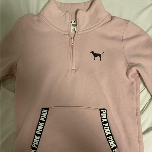 Quarter-Zip Pink Hoodie